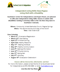 Independent Living Skills Class - Pagosa @ Community United Methodist Church | Pagosa Springs | Colorado | United States