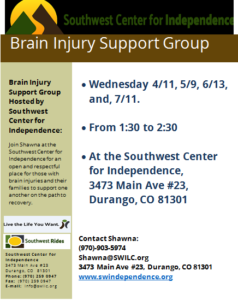 Brain Injury Support Group @ SWCI | Durango | Colorado | United States