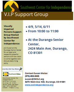 Visually Impaired Persons Support Group @ Durango Senior Center | Durango | Colorado | United States