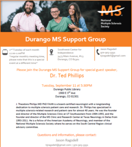 Durango MS Support Group Guest Speaker @ Durango Public Library | Durango | Colorado | United States