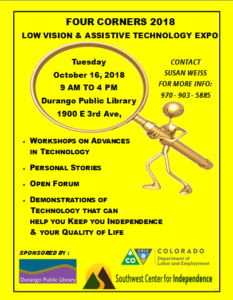 Four Corners Low Vision and Assistive Tech Expo @ Durango Public Library | Durango | Colorado | United States