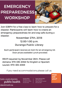 Emergency Preparedness Workshop @ Durango Public Library | Durango | Colorado | United States